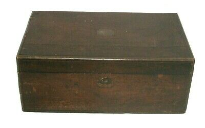 Large Brass Bound Victorian Antique Writing Slope Box In Need Of Attention