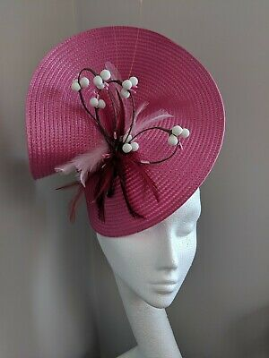 Pink Woven Straw Fascinator With Artificial Cherry Blossom, Races Weddings