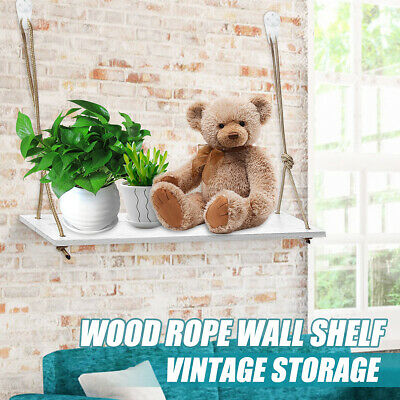 Rustic Wooden Rope Hanging Wall Shelf Storage Floating Shelves Home Decor