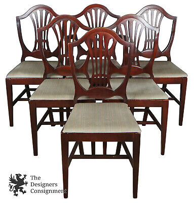 6 Antique Mahogany Hepplewhite Style Shield Back Dining Chairs Duncan Phyfe