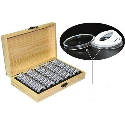 Wood Coins Storage Box Case for Slab Certified Coin with 50 Capsules