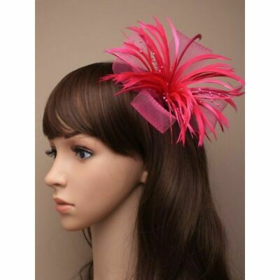 5312 Fuchsia Pink looped net & feather fascinator clip brooch pin Wedding Races