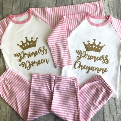 PERSONALISED PRINCESS GIRLS PYJAMAS, Gift Pink White PJs Gold Glitter Crown