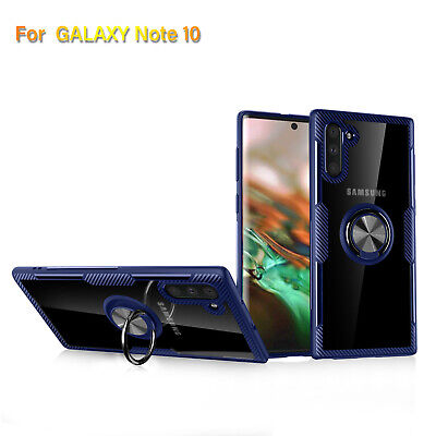 For Samsung Galaxy Note 10 Blue Hybrid Magnetic Stand Ring Hold Case Slim Cover