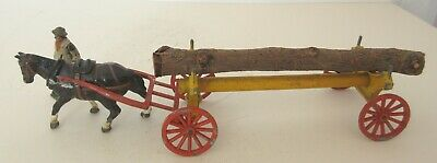Rare Pre War Charbens Horse Drawn Tree Wagon with Horse and Man