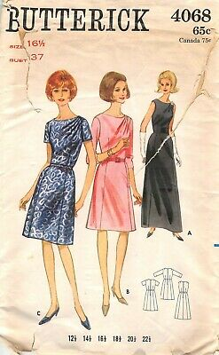 Vintage 4068 sewing pattern 60's Half size DRESS elegant shoulder drape  16½