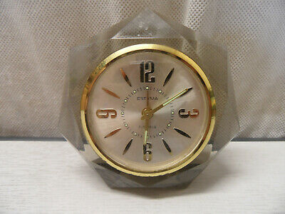 Vintage Estyma Manual Winding Bronze and Methacrylate Mantel Alarm Clock