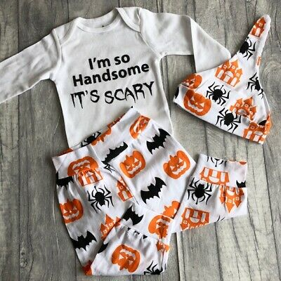 BABY HALLOWEEN ROMPER SET, Long Sleeve White Romper Pants and Hat Handsome Scary