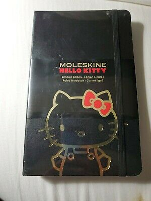 Limited Edition LE New Large Black Gold Hello Kitty Moleskine Notebook Journal
