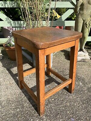 Old Wooden School Stool Wally Inscribed