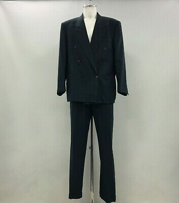 YVES SAINT LAURENT Blue Check Wool Suit Double Breasted Mens UK56R TH240600