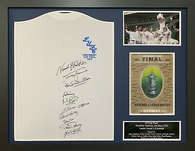 Framed Leeds United 1972 Fa Cup Final Football Shirt Signed By 10 Coa & Proof