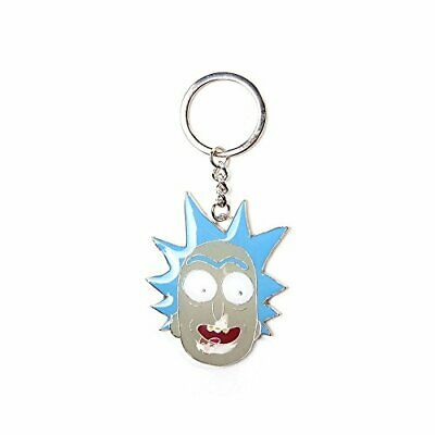 Bioworld Rick And Morty Rick Big Face Pendant Metal Keychain, One Size, Blue/Gre