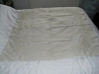 ANTIQUE/VINTAGE TABLECLOTH-EMBROIDERY+HAND CROCHET LARGE 44 X 44 inch
