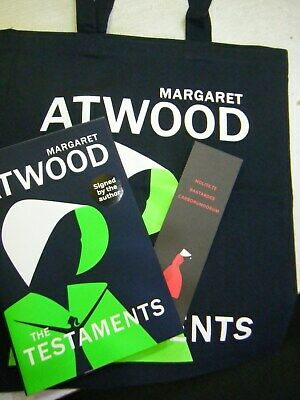 Signed Book Testaments by Margaret Atwood 1st Edn 2019 with Tote Bag & Bookmark