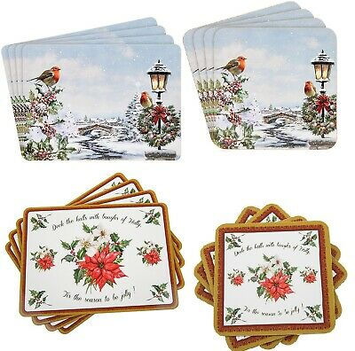 Christmas Placemats & Matching Coaster Set 4 of each in set