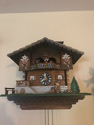Chalet Cuckoo Clock Musical Animated Wood Chopper/dancers FREE SHIPPING!!!