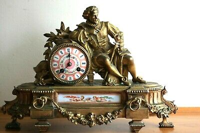 Antique 19Th Century French Bronze Gilt Mantle Clock By P H Mourey