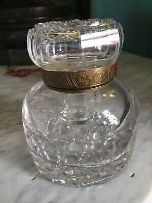 Antique 19th c. Large Cut Glass Inkwell with Glass Insert and Brass Collar