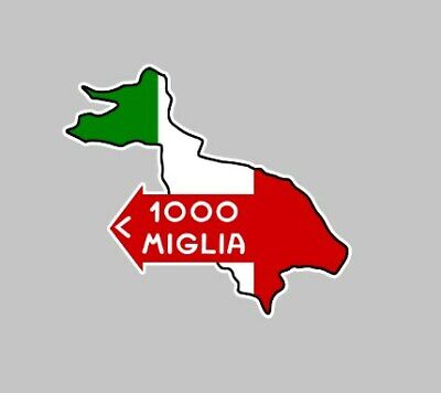 MILLE MIGLIA 1000 decal Sticker 100mm tank Racing Driver Classic car race rally