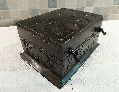 Antique African Primitive Hand Carved Blackwood Locking Box- Tray + Compartments