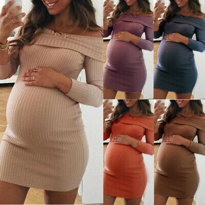 LN_ Maternity Off Shoulder Pregnant Women Long Sleeve Solid Color Bodycon Mini