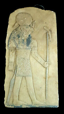 Rare Egyptian Limestone Stelae Ancient Antique Carved Egypt Falcon Horus ankh