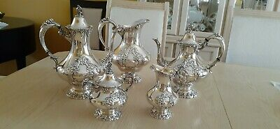 Reed & Barton KING FRANCIS Silverplate Coffee/Tea Pot Set +Water Pitcher - 6 pc.