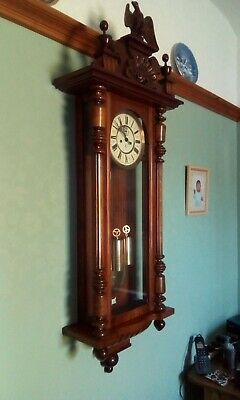 19th century Gustav Becker Antique walnut vienna wall clock double weight.