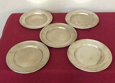 """Antique RW & S Wallace Sterling Silver Bread & Butter 6"""" Plate #2899 Set 5"""