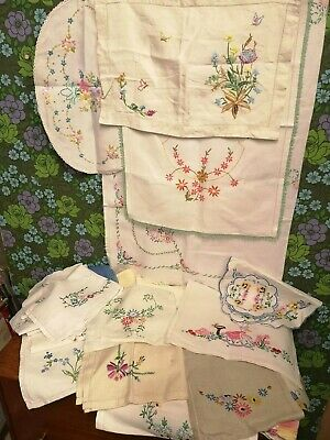 Job Lot / Bundle Vintage Antique Hand Embroidery Tray Cloths 35 approx crafts?