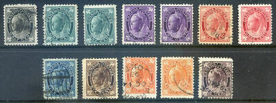 Canada 1897-8 Q. V. used run of 12 to 10c ood to fine used (Ref. 2019-09-15#02)