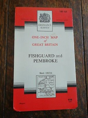 1965 Ordnance Survey Seventh Series One Inch Fishguard And Pembroke Cloth Map