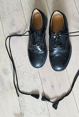 Child's 100% leather Black ghillie brogues Size 2.5