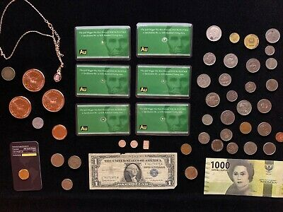 Junk Drawer Lot 6 Gold Nuggets Estate Sale Silver .999 Bullion Coins Jewelry 7