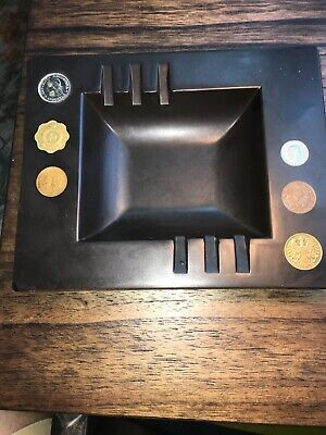 Vintage Couroc Black Ashtray Embedded Coins Mid Century Modern Hard To Find