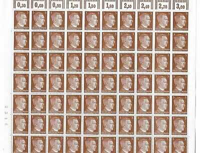 Complete 1941 stamp sheet / Adolph Hitler PF03 / Third Reich / 100 MNH stamps