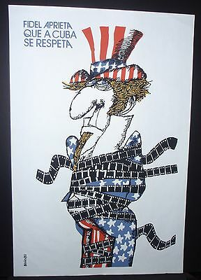 5 Day Sale UNCLE SAM Cuban Silkscreen Art Poster for Movie About US Embargo CUBA