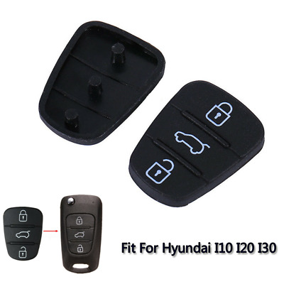 2Pcs Remote 3Buttons Key Fobs Case Rubber Pad Shell Fit For Hyundai I10 I20 I30