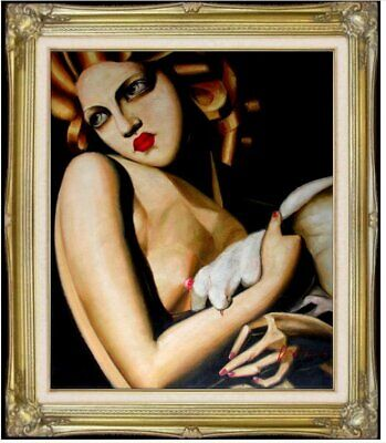 Framed Quality Hand Painted Oil Painting, Woman with Dove Repro 20x24in