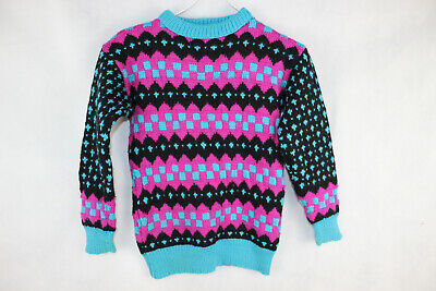 Vintage 1980s KIDS Unisex NEON Electro KNITTED JUMPER sz 6  Rad Retro COOL RAD