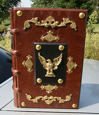 "**30LBS.** 1827 IMMENSE antique Holy Bible ## 20"" TALL ## HAND CRAFTED COVER"