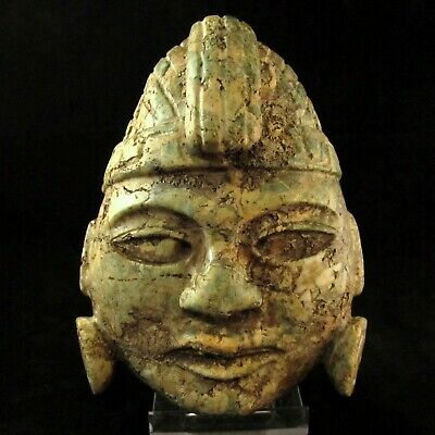 MASSIVE Ancient Pre-Columbian Olmec Jade Stone Mask ~ Private Collection