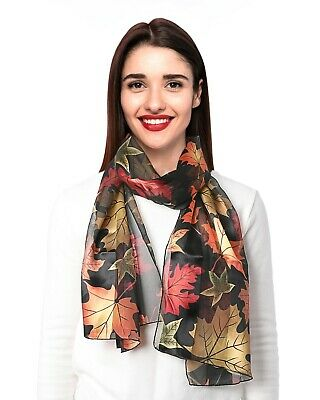 Fashion Autumn Fall Leaves Maples Leaves Scarf Silky feels Scarf, Made in Korea