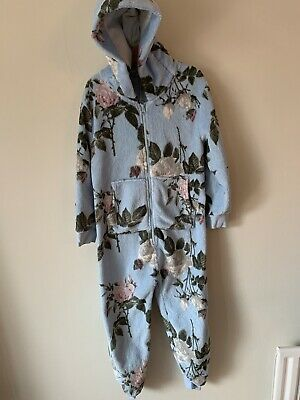 Next All In One Fleece Pyjamas Age 7 Blue Floral