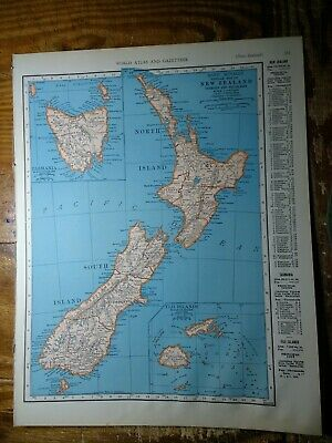 1943 Map Of New Zealand Tasmania Fiji Islands Map Of