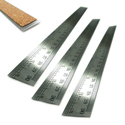 """3PC Metal Rulers 12"""" Stainless Steel Straight Edge Drawing Cutting Non Skid Back"""