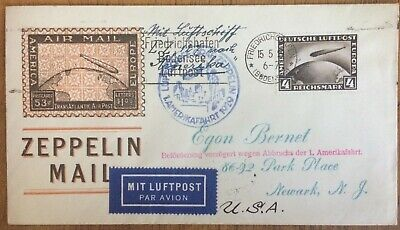 Germany 4m Zeppelin (Scott C37) on 1929 flown cover P Baude Germany to stamp dlr