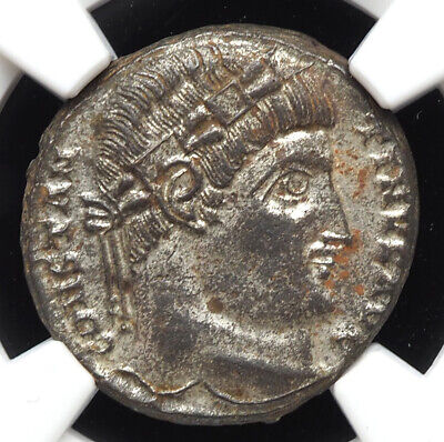 Constantine I. AD 307-337. Æ Silvered Follis. NGC MS