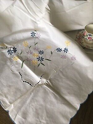 Vintage Floral Embroidered Banquet Cotton Tablecloth NIP 144 X 60 🌸